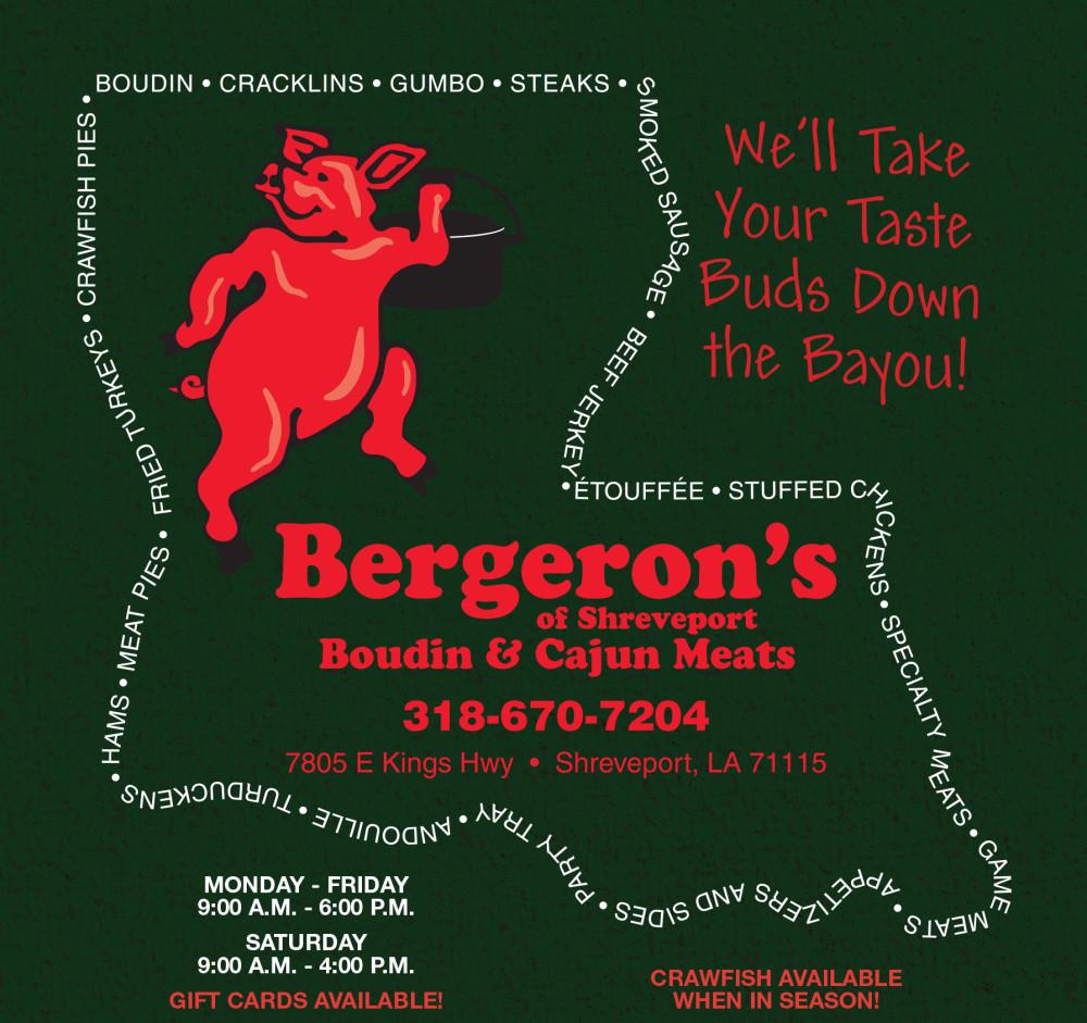 Shreveport, Bossier, MrMenu.biz, 2015 Bergeron's, Bergeron's, Advertisement, East Kings Hwy