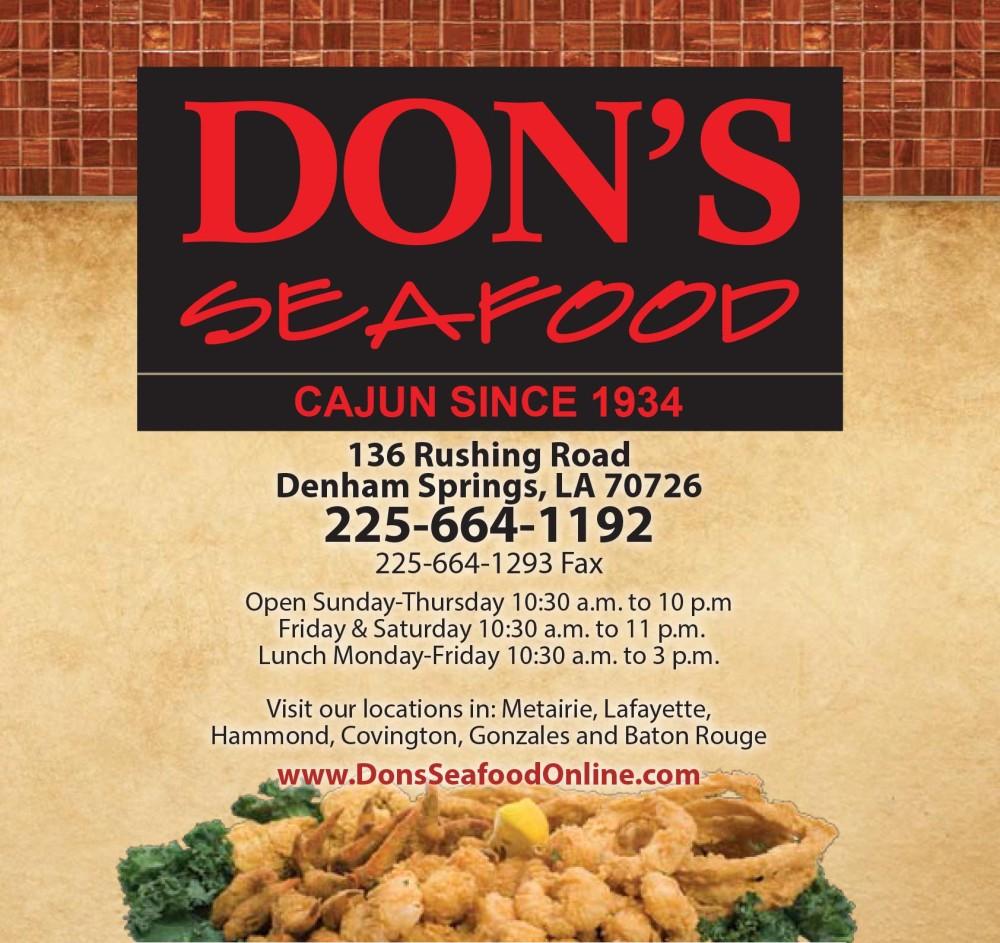 Shreveport, Bossier, Don's Seafood Menu, Menu Cover, Rushing Road, 2015 Don's Denham Springs Logo
