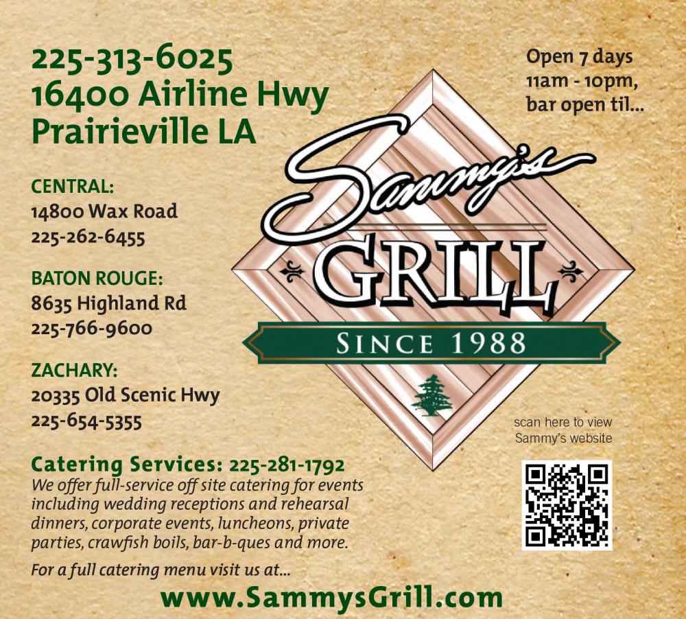 Shreveport, Bossier, MrMenu.biz, Sammy's Grill, 2015 10MM Sammy's Prairieville Logo, Prairieville