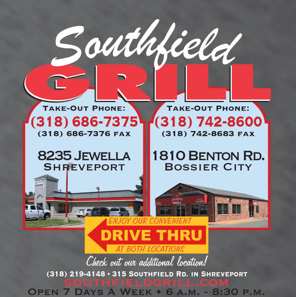 Shreveport, Bossier, MrMenu.biz, Southfield Grill Logo, 2015 SFG Jewella, Benton