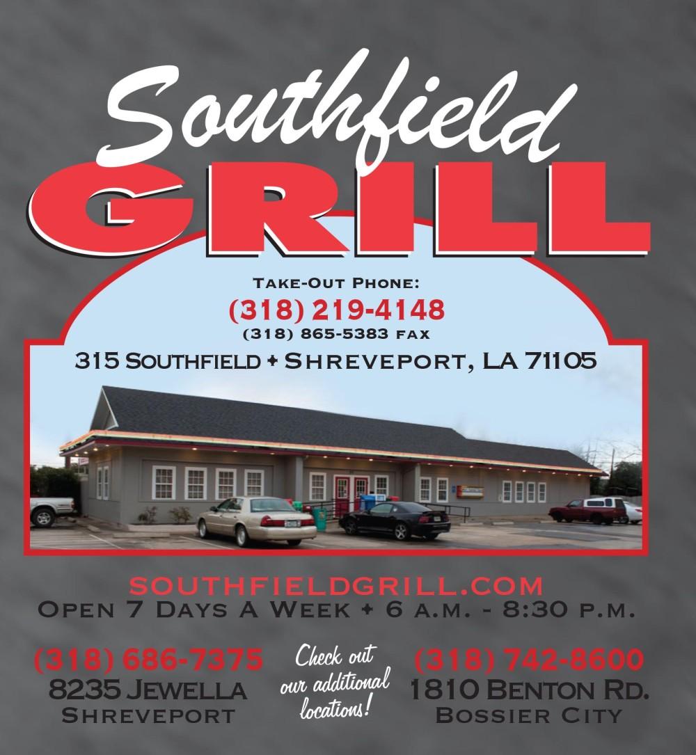 Shreveport, Bossier, MrMenu.biz, Southfield Grill Logo, 2015 SFG, Southfield Road Logo
