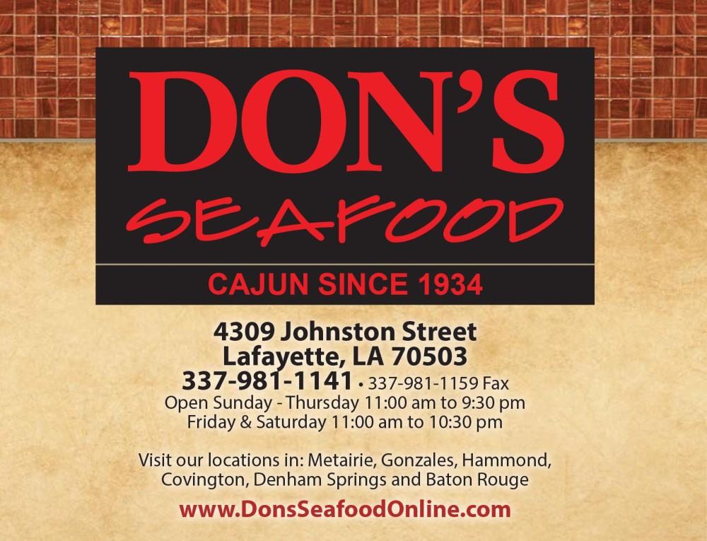 Shreveport, Bossier, MrMenu.biz, Don's Seafood, Don's Seafood Central Logo, Lafayette